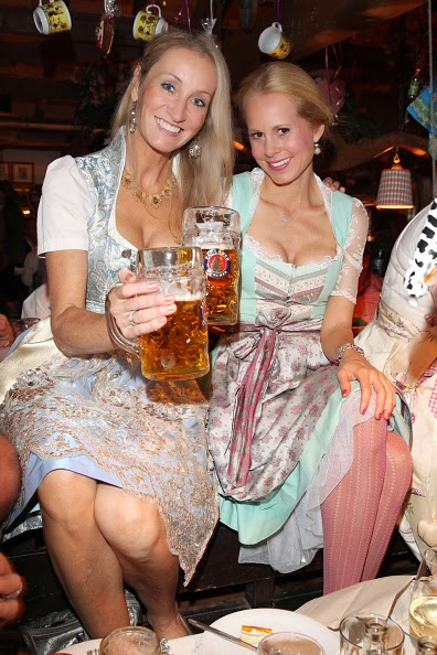 Princess Nadja zu Schaumburg - Lippe wearing a dirndl of Coco Vero during Oktoberfest at Kaeferzetl/Theresienwiese on 05.10.2014 in Munich, Germany
