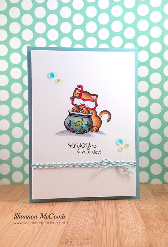 Enjoy your day Cat card by Shannon  McComb | Newton's summer Vacation Stamp set by Newton's Nook Designs #newtonsnook