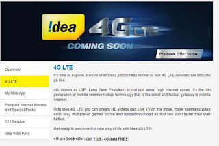 Prebook For Idea 4G Now and Get 1GB 4G Internet Data Free