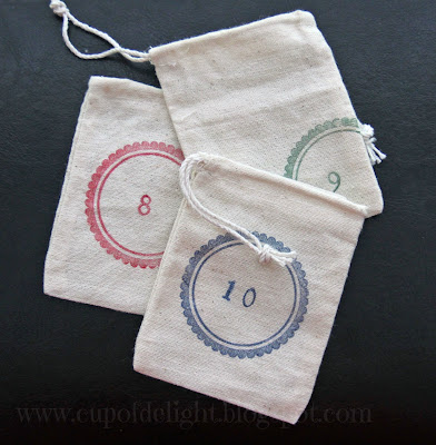 Stamped Linen Advent Bags