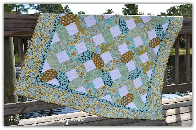 modern quilt in aqua and brown
