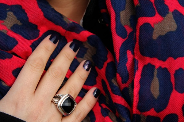 Animal Print Scarf from South Moon Under and Black Onyx and Silver Ring from David Yurman