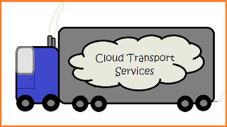 Sketch of a semi truck with a cloud painted on the side.  Words within the cloud say Cloud Transport Services.