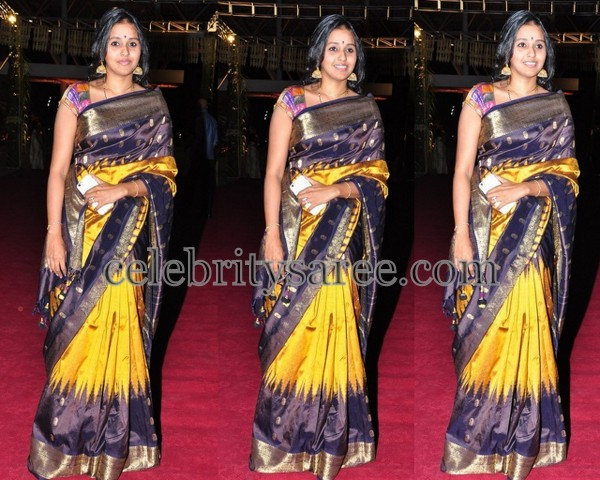 Singer Smitha Yellow Black Silk Sari