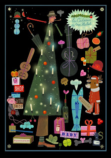 illustration by Tom Schamp of  Jacques Tati dressed up as a christmas tree