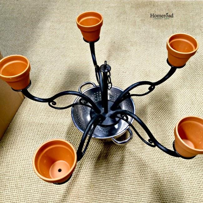 Repurposed Flower pot chandelier www.homeroad.net