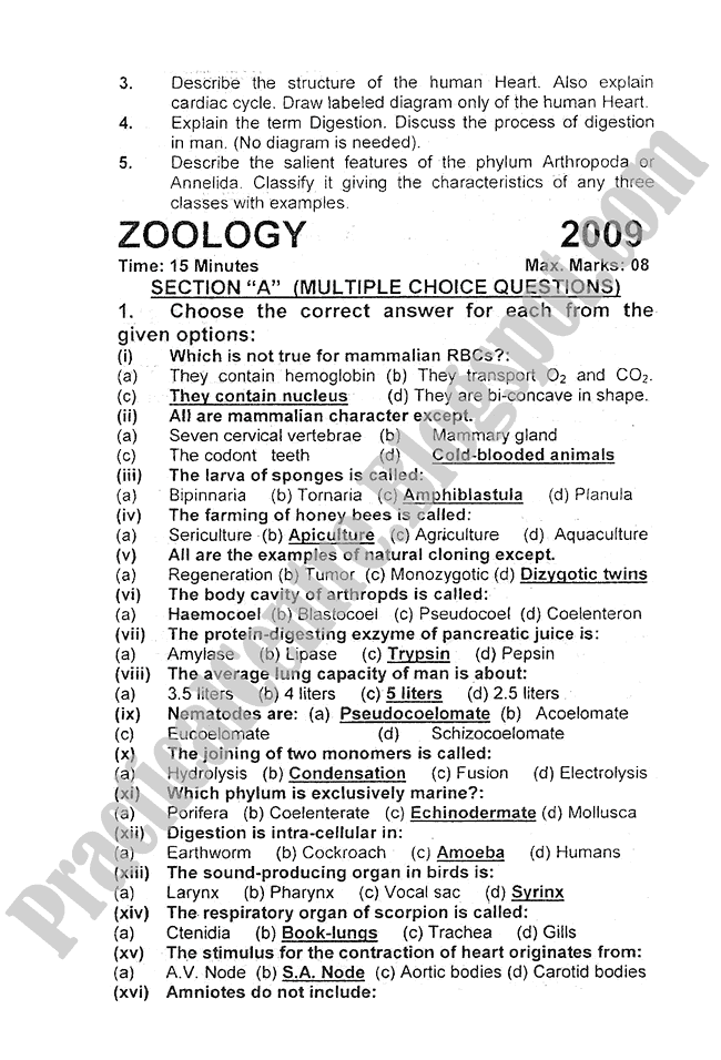 Zoology-2009-five-year-paper-class-XI