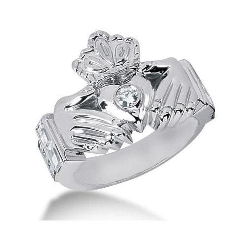 Claddagh Ring 1 Round Stone For Men Diamond Celtic Wedding Ring Set