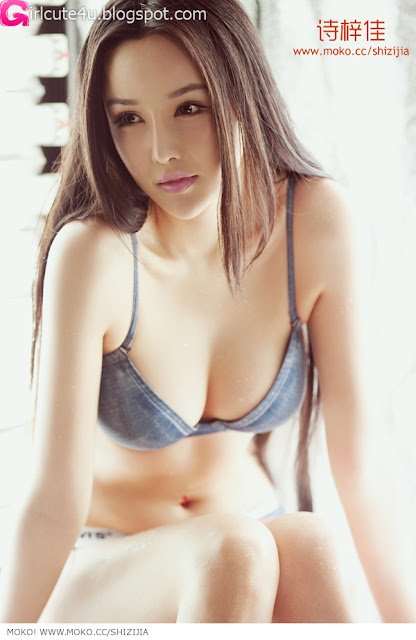 Shi-Zi-Jia-Denim-Lingerie-10-very cute asian girl-girlcute4u.blogspot.com