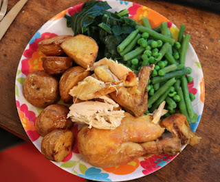 Roast chicken (the tatties are our neighbour's, the cabbage is our own)