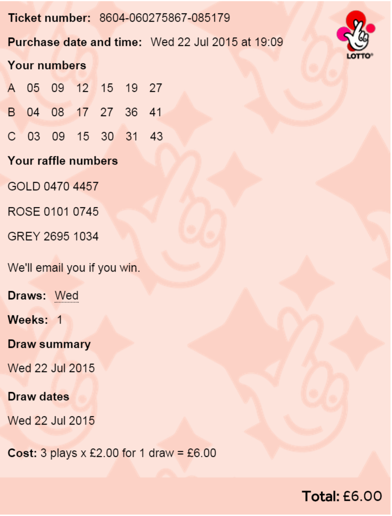 second ticket bought for next lotto game on wednesday 22 July 2015