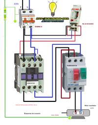 esquema conexión motor monofasico contactor guardomotor reloj horario
