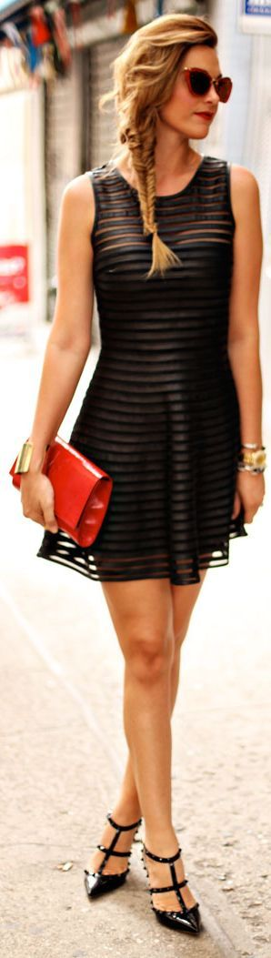 Timeless Street style: Little black dress, red clutch and Valentino Rock Stud Pumps