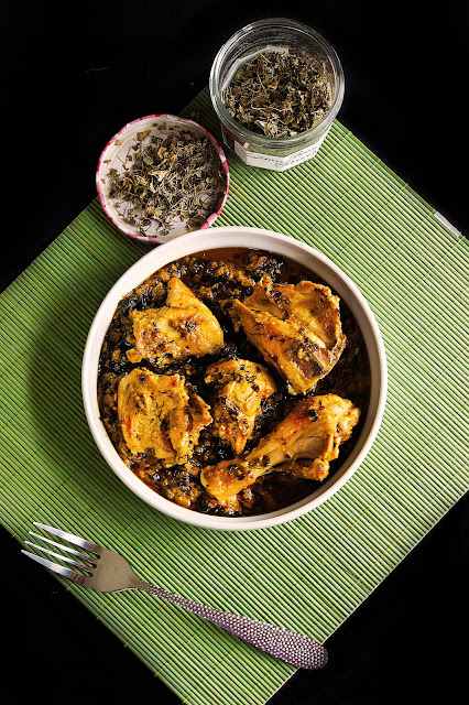 garlic methi chicken recipe with step by step pictures