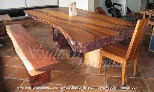 Jual Set Meja makan besar trembesi furniture solid Jepara bentuk design alami ekstreme dari kayu suar