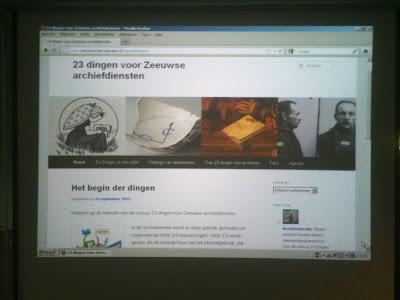Zeeuws Archief, startscherm cursus 23 Dingen voor Zeeuwse archiefdiensten, 03-10-2012.