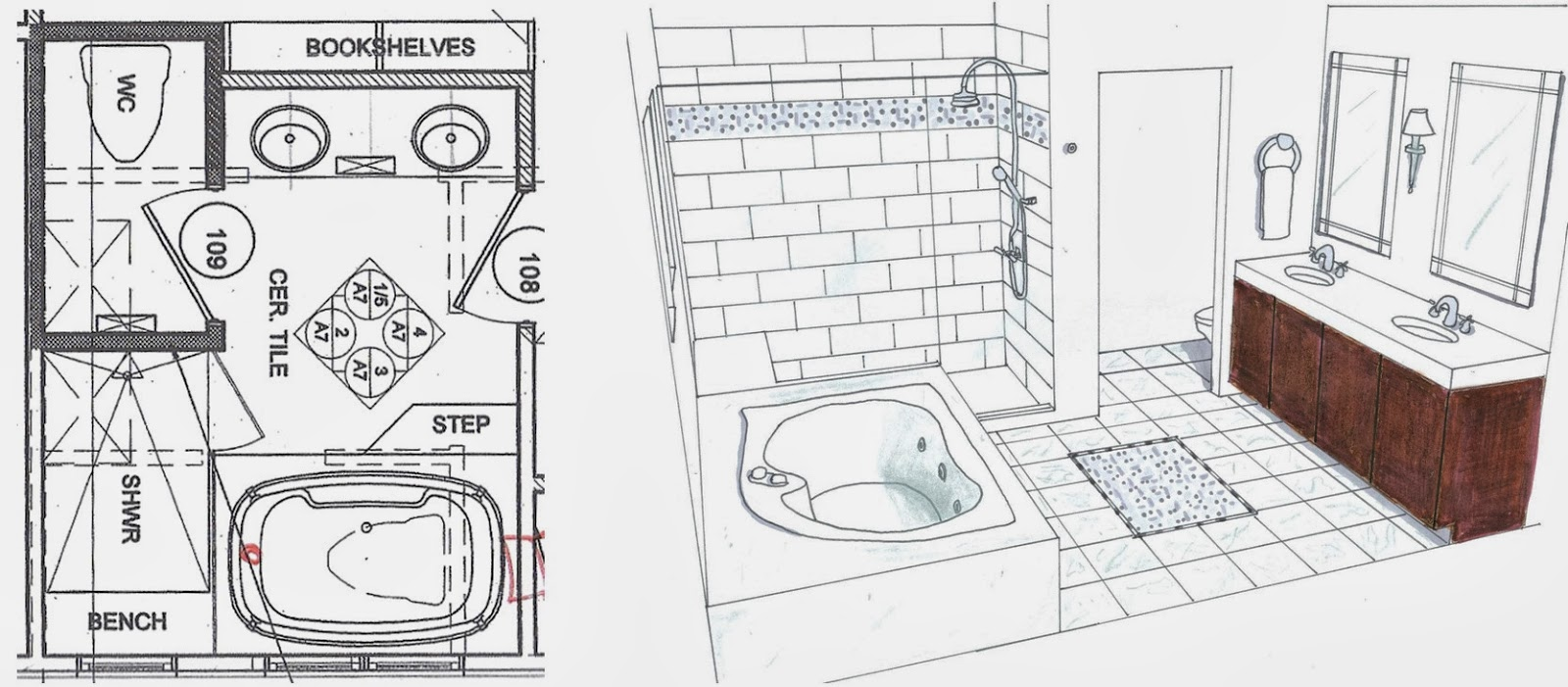 Behind Tub Master Bathroom Floor Plans Free Online Image House Plans