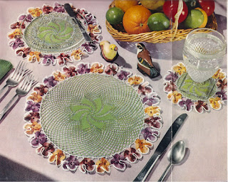 Vintage Crochet Pansy Doily Pattern in small and medium