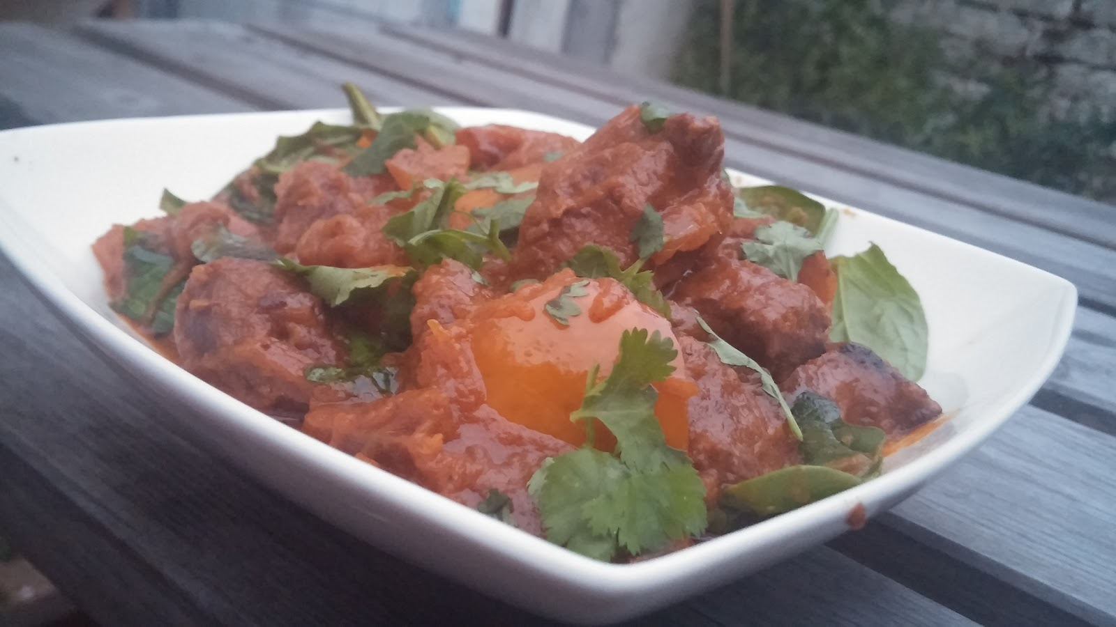 Beef & pumpkin curry with spinach, coriander and rice