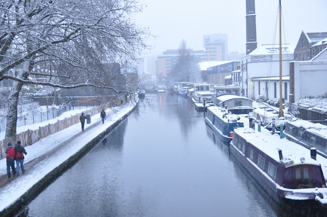 London snow Regents Canal