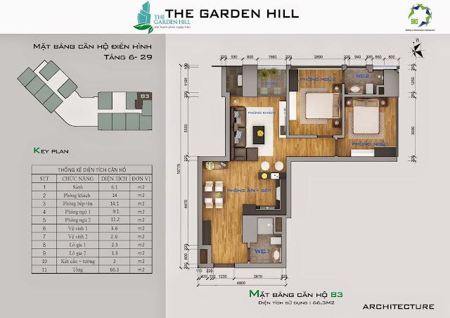 Căn B3 tầng 6 đến 29 Garden Hill - 99 Trần Bình