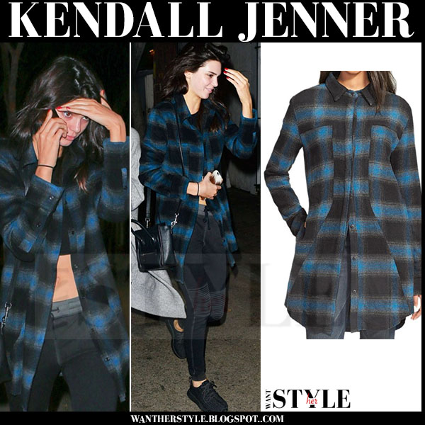 Kendall Jenner in blue plaid flannel rta genevieve shirt what she wore models off duty