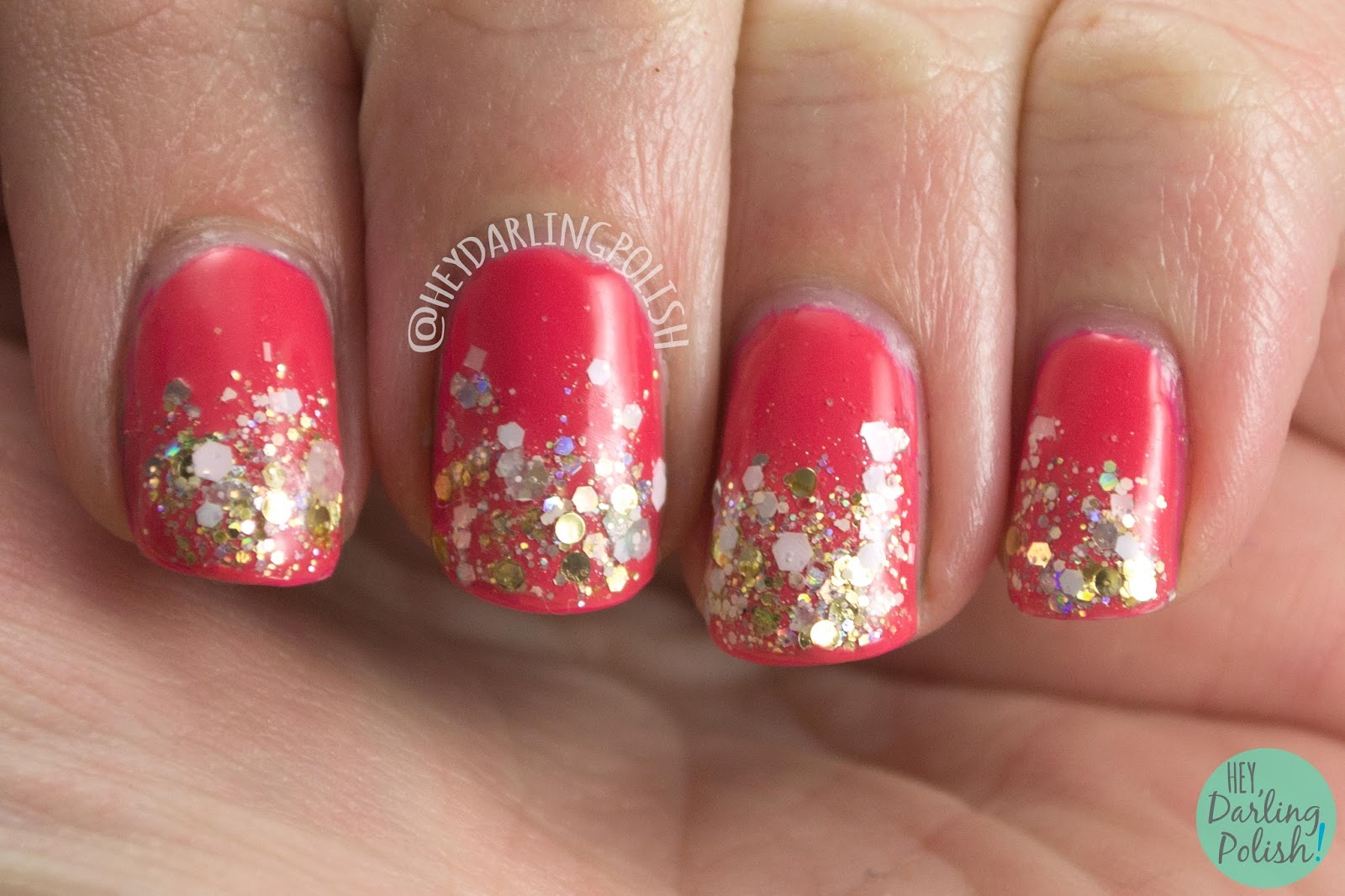 nails, nail polish, kbshimmer, pink, indie polish, let's not coral, glitter, glitter gradient, hey darling polish