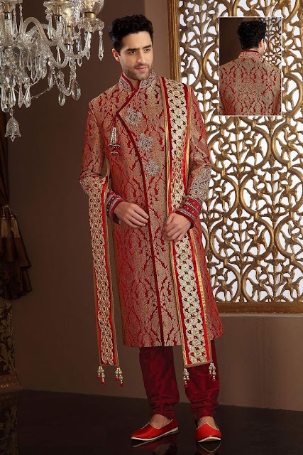 Stone Work Maroon Banarsi Art Silk Sherwani With Churidar