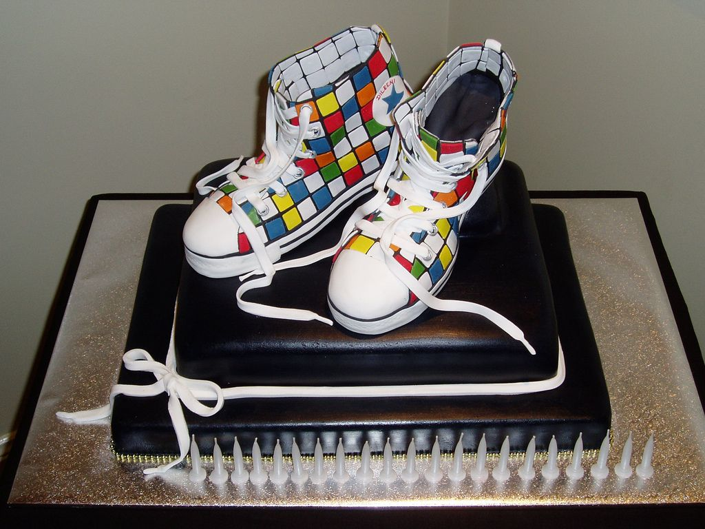 19. 21st B'day Cake - Rubik's Cube Chuck Taylor's (in icing) by Dileeni Wettasinghe