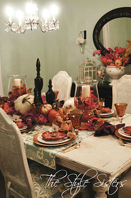 Orange and white pumpkins, Thanksgiving table, The Style Sisters