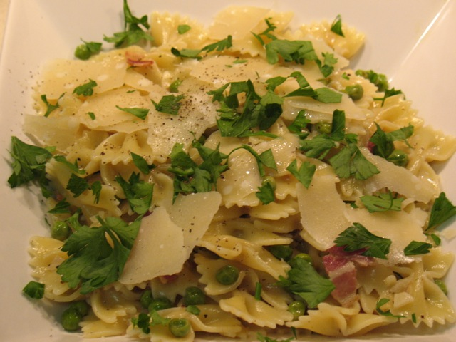 Cook In / Dine Out: Farfalle with Pancetta and Peas