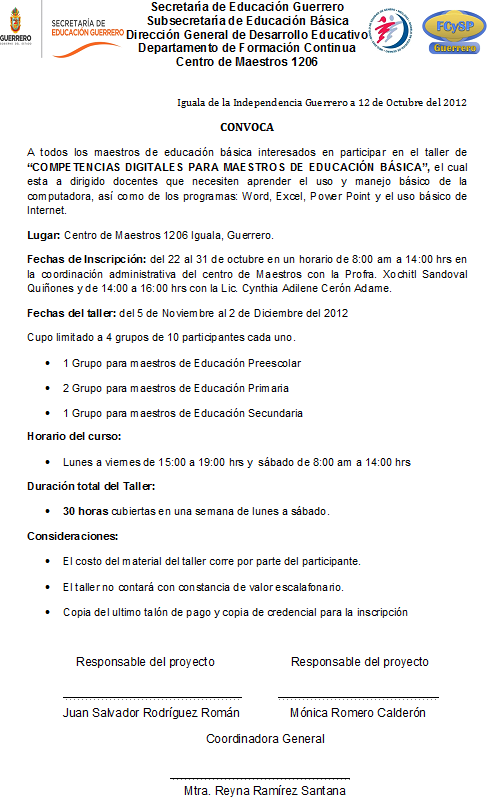 Centro de maestros 1206 for Convocatoria de maestros
