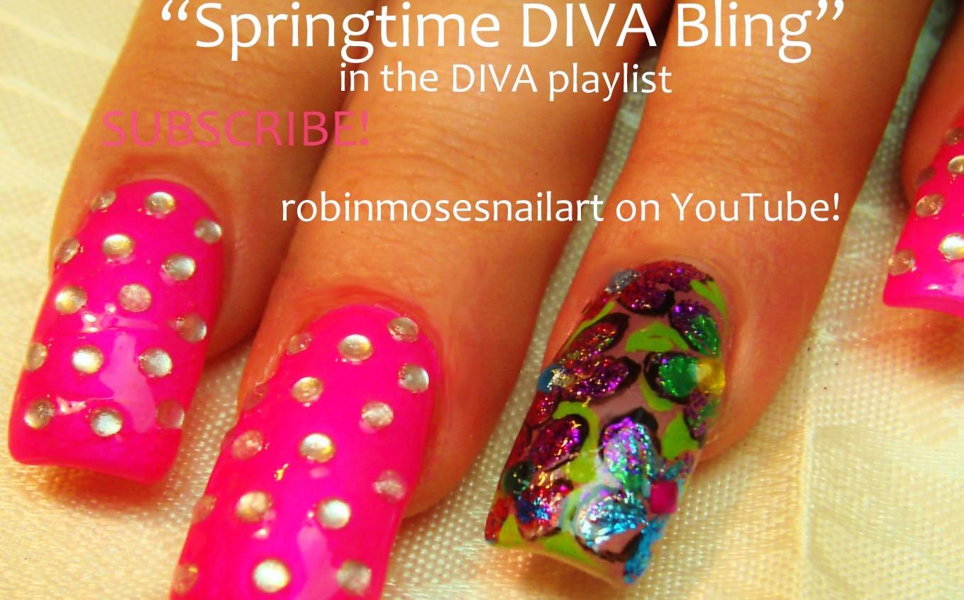 Spring bling nails, High glitz nail art, diva nail art with foil ...