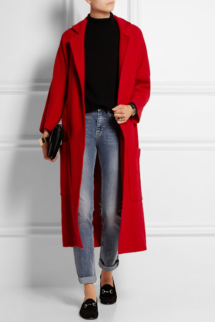 maje red maxi coat, maje red coat,