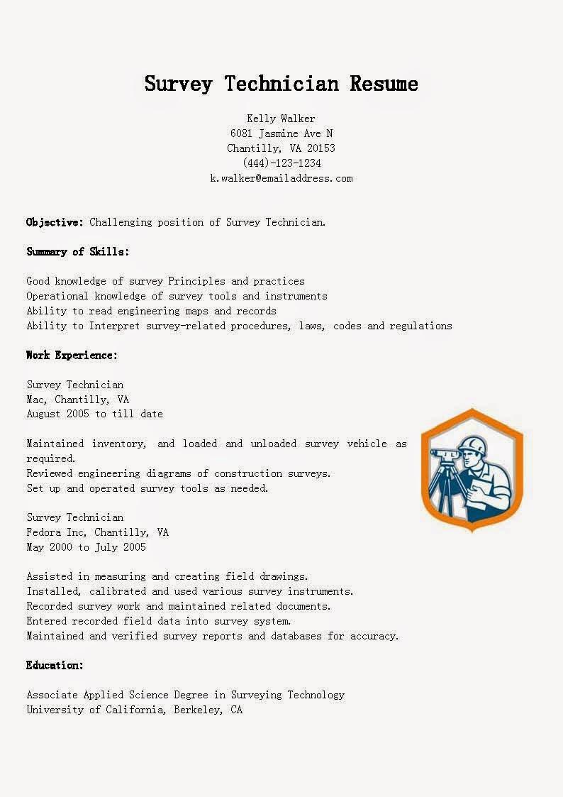 resume samples  survey technician resume sample