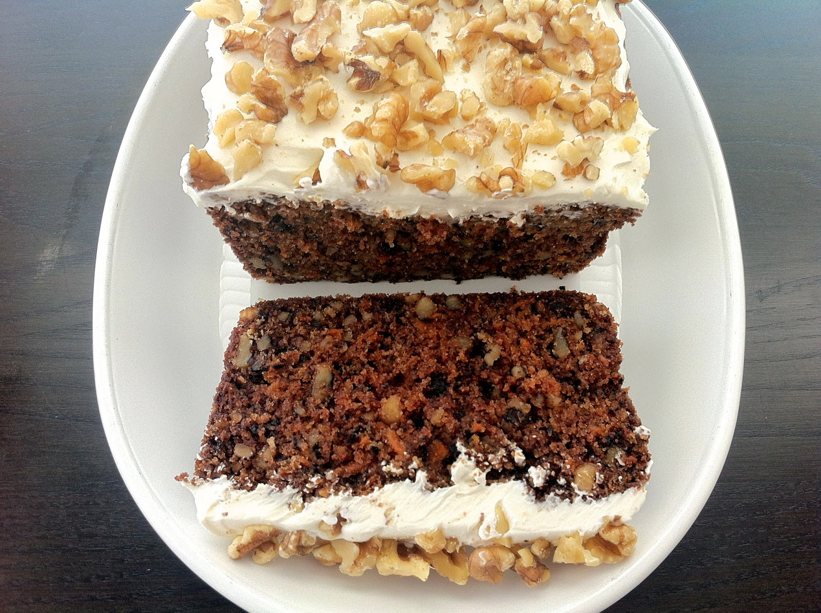 Healthier Carrot Cake with Cream Cheese and Walnuts