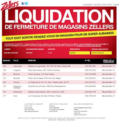 Liquidation de fermeture magasins zellers for Centre liquidation electromenager laval