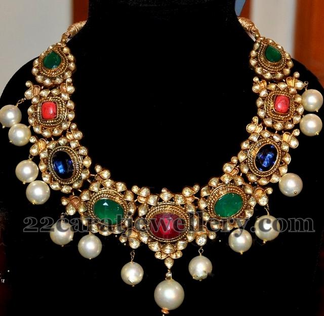 karat gemstone necklace jewellery designs