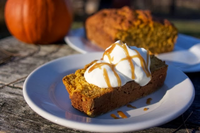 Pumpkin Yogurt Loaf with Maple Carmel Sauce: simplelivingeating.com