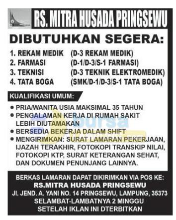 Recruitment RS. Mitra Husada Pringsewu