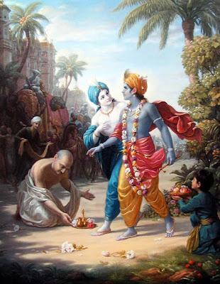 Krsna and Balarama approach the city of Mathura