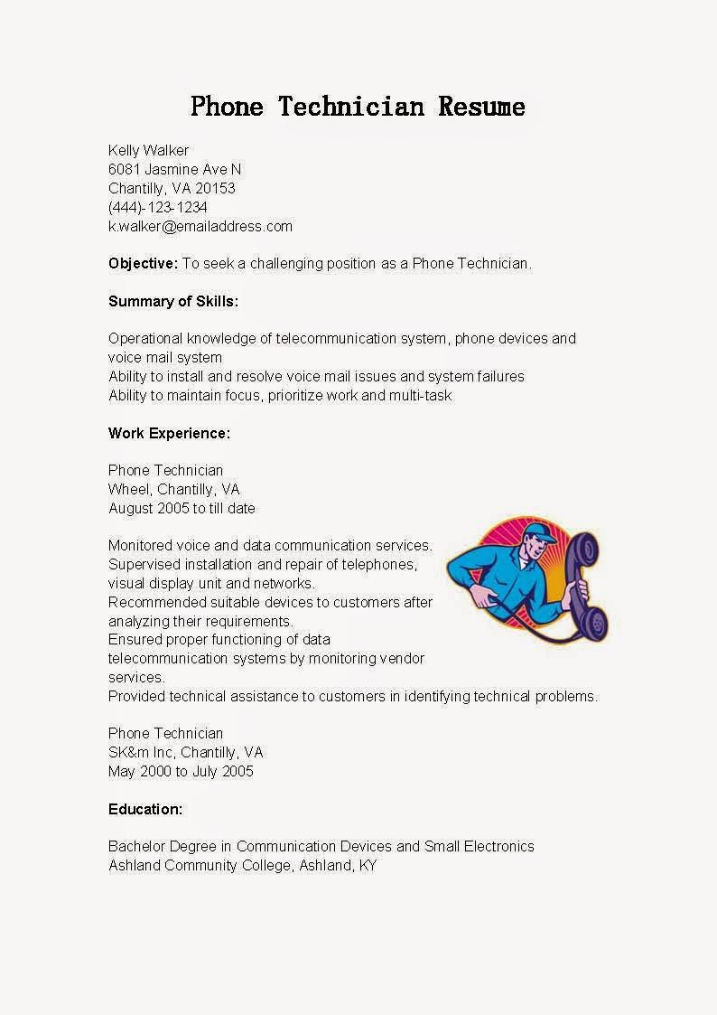 resume samples  phone technician resume sample