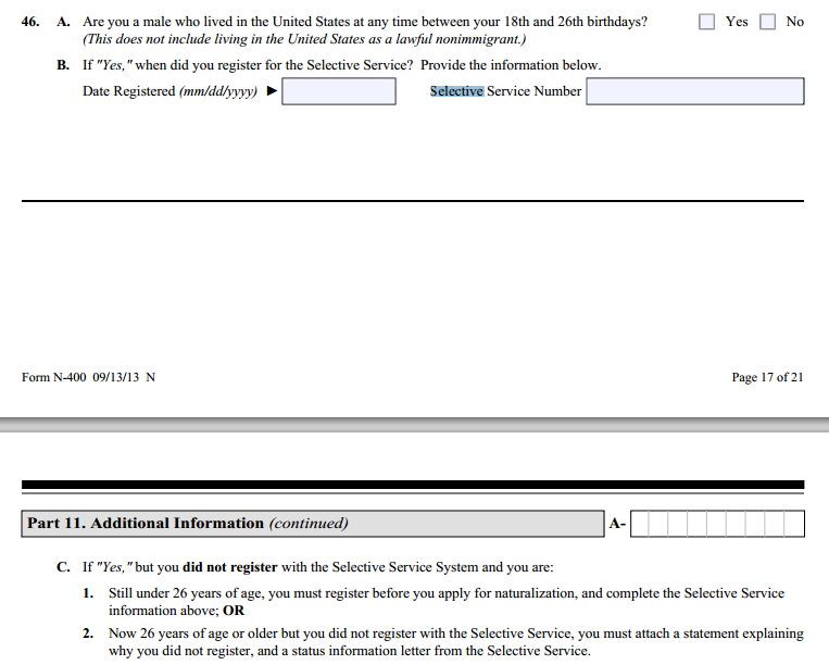 Did Not Register For Selective Service Naturalization