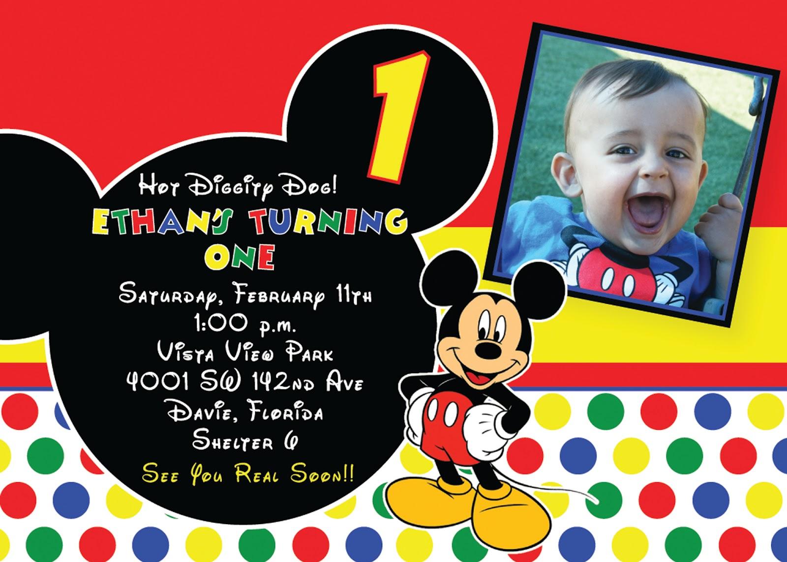 Cordially Invited Mickey Mouse Birthday Invitation
