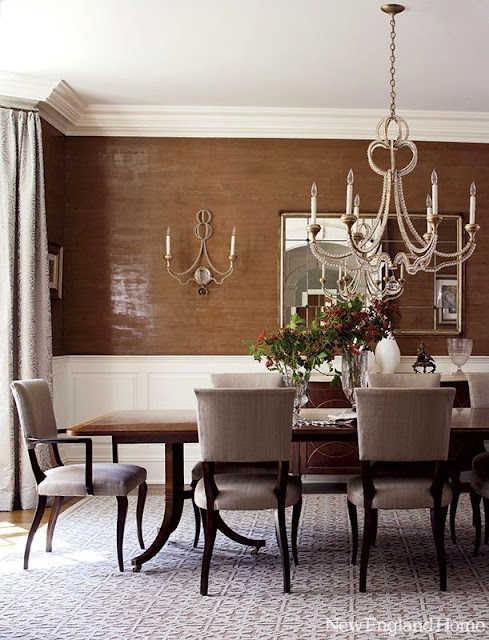 textured walls brown white dining room