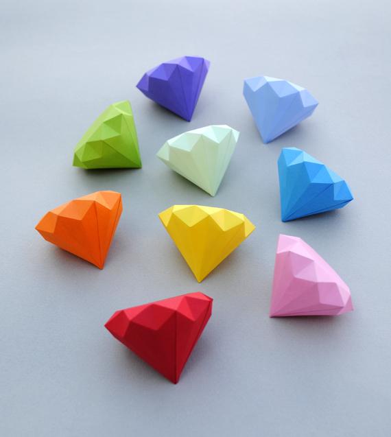gem diamond 3d paper