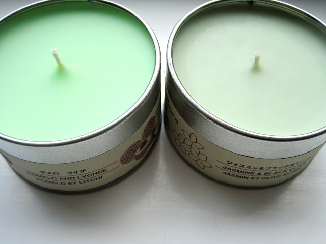 muji tin candle review pomelo lychee jasmine black olive muji candles