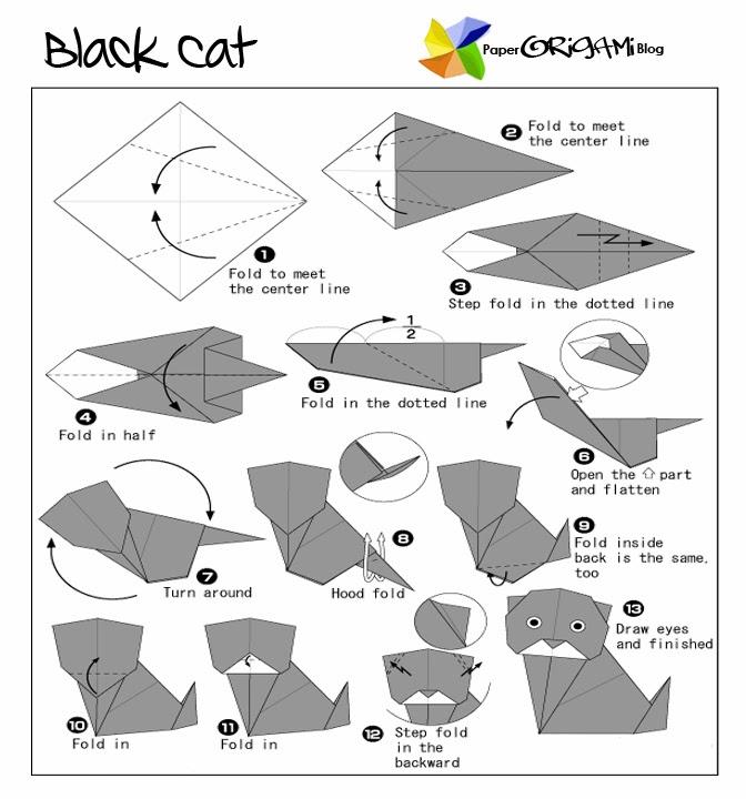 Animals Origami Black Cat