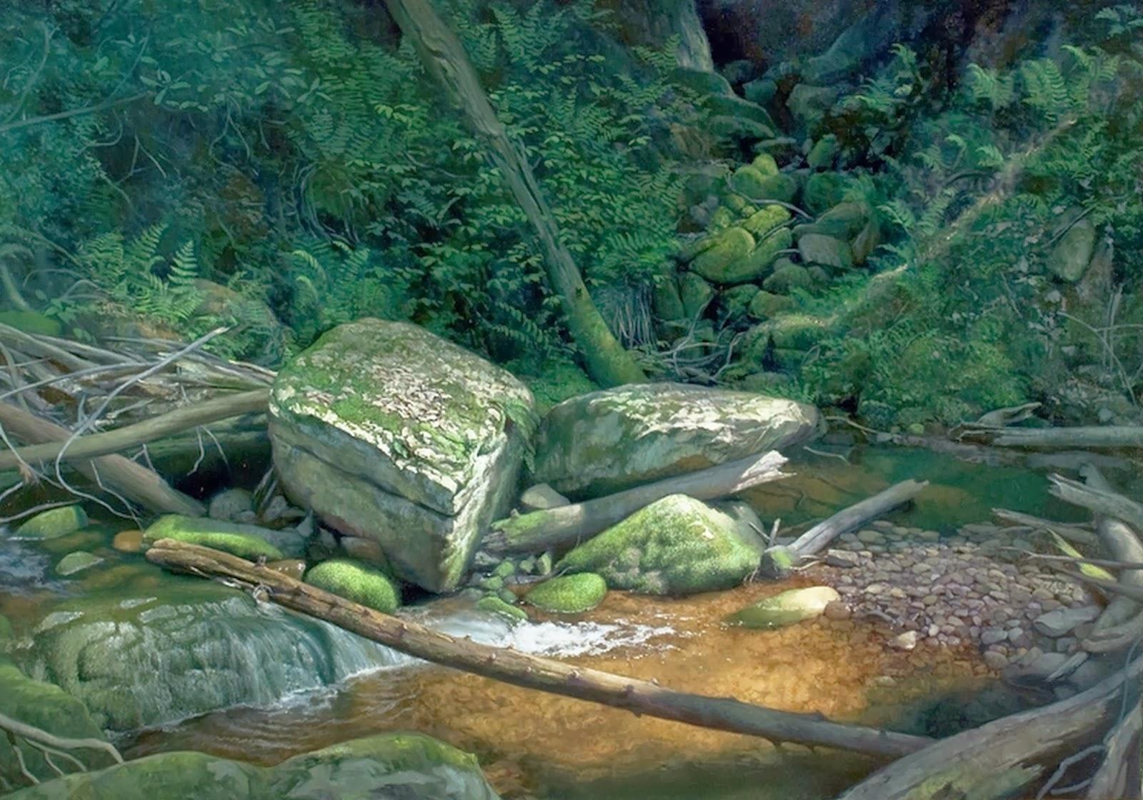 Cuadros modernos pinturas y dibujos pinturas de paisajes for Pintura verde agua