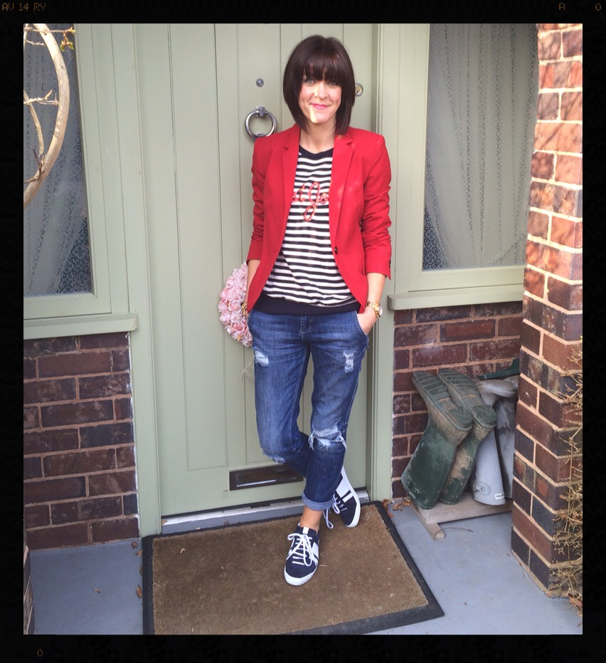 My Midlife Fashion, Breton, Stripes, Sequins, Wallis, Red Jacket, Blazer, Zara, Distressed Denim, Boyfriend Jeans, White Trainers, Zara, Mango